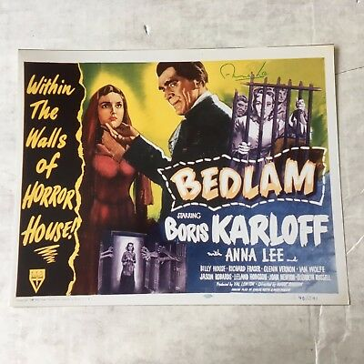 Anna Lee signed color reproducdtion from BEDLAM with Boris Karloog