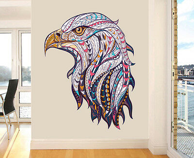 Colourful Patterned Eagles Head Wall Art Vinyl Stickers American Decal Mural