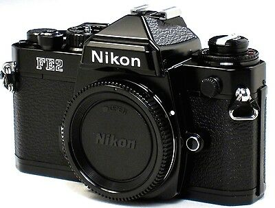 *** MINT *** Nikon FE2 35mm SLR Black Camera Body W/ Titanium Shutter