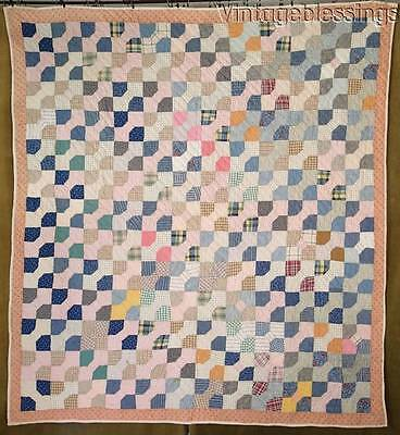 "Country Farmhouse ANTIQUE c1900Bow Tie QUILT Indigo Blue 75"" x 68"""
