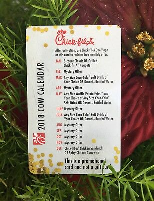 2018 Official Chick-fil-A Cow Calendar - CARD ONLY
