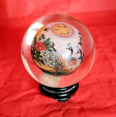 Chinese Signed Hand Painted Peacocks Globe Paperweight & Stand