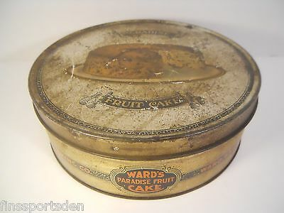 Old Vintage 5 lb WARD'S Advertising Paradise Fruit Cake Tin ~ Ward Baking Co