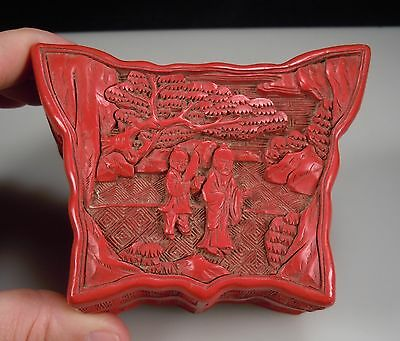 Chinese Red Cinnabar Lacquer Butterfly Shaped Box
