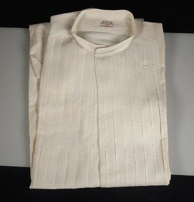 1920s Arrow White Collarless Pleated Men's Shirt
