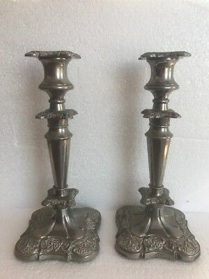 A pair of Vintage Weighted Silver Plated Candlesticks, Grape Vine Decoration