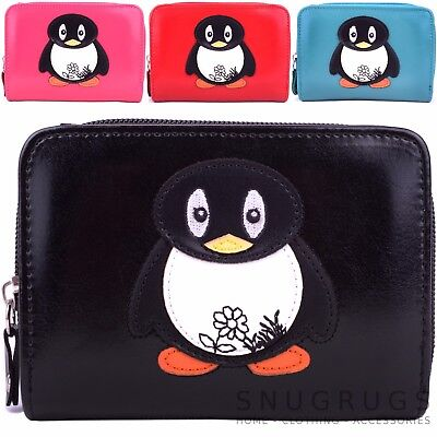 Ladies / Womens / Girls Faux Leather Purse / Money / Coin Holder with Penguin
