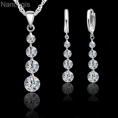 925 Silver Crystal Drop Necklace and Earrings Party Gift Wedding Jewellery Set