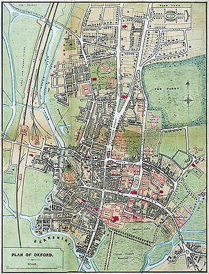 Map of  Oxford England 1875 Print