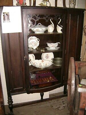 Antique Solid Wood China  Bowed Glass Front Door Cabinet / Hutch