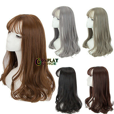 Medium Curly Black/Brown/Gray Basic Women Lady Heat Resistant Anime Cosplay Wig