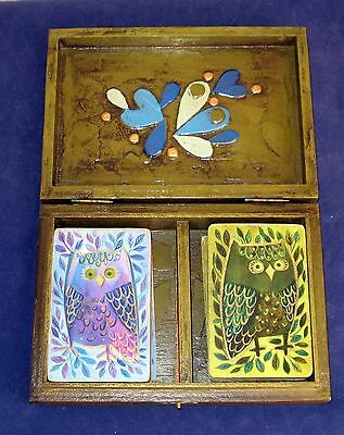 Vintage Double Deck Playing Cards in Original Wooden Box Playing Cards  L1