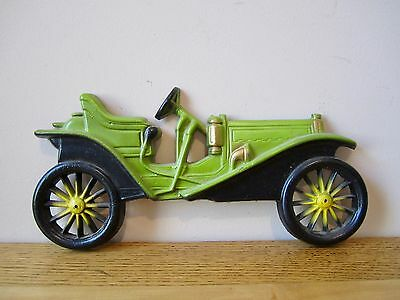 Vintage Metal Midwest Antique 1909 Hupmobile Green Automobile Car Wall Plaque