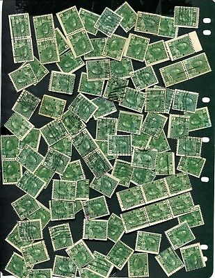 100+ Used Canada 1 Cent KGV Coil Admiral Stamps #131 (w131a)