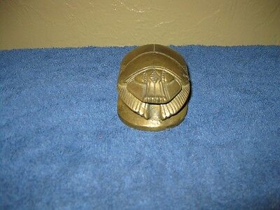 SOLID Brass Egyptian Beetle Scarab with Hieroglyphic Script on bottom RARE