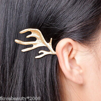1PC  Womens Shiny Golden Elk Horn Antler Hair Clip Hairpin Accessories