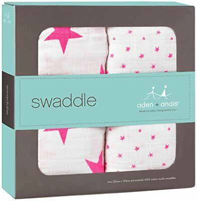 aden + anais swaddle 2 pack, fluro pink New