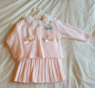 REDUCED! Traditional Spanish Romany girls knitted 3 piece outfit, 3M to 24M!