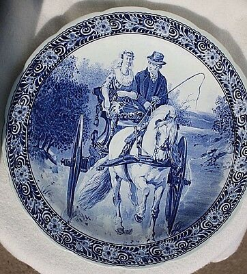 Vintage Delfts Royal Sphinx Maastricht Wall Plate Man Woman Cart Horse 15 3/4 in