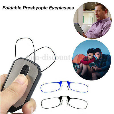 Keychain Mini Nose Clip Reading Glasses with Case 1.5 2.0 2.5 Style Thin optics