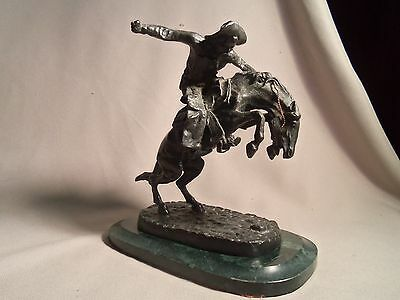 Vintage Cast Iron Statue Cowboy Riding Bucking Horse-Bronc
