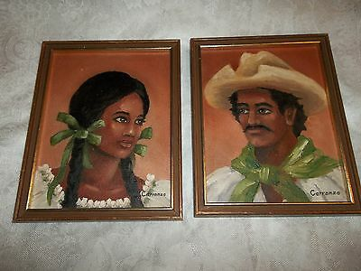 Vintage Paintings Mexican Man & Woman~Signed Carranza