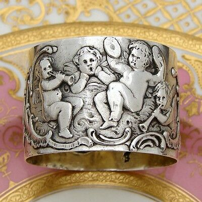 Antique Continental .800 (nearly sterling) Silver Napkin Ring, Cherubs or Putti