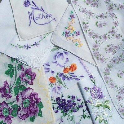 Big Vtg Lot of HANDKERCHIEFS in Shades of LAVENDER Purple w Embroidery Etc Hanky