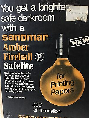 Vintage Darkroom Light Sandmar Amber Fireball Safelight in Original Box