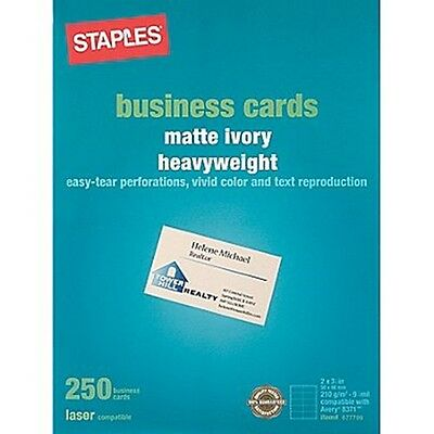 Staples 14632 Laser Business Cards, Matte Ivory, 250/Pk ~ Free Shipping