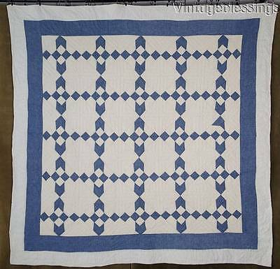 Great American Country Farmhouse Blue & White Antique c1900 Chambray QUILT