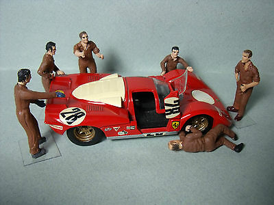 6  Figurines  1/43  Set 100  Mecanos  Ferrari  1970  Vroom  Le Mans  Figures
