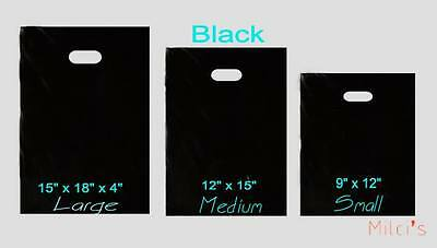Black Glossy Low-Density Plastic Merchandise Bags Wholesale lot Bags in 3 sizes