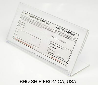 Clear Acrylic Side Loading Cosmetology License Sign Holder