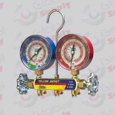 """Yellow Jacket 42001 - Series 41 Manifold Only, 3-1/8"""" Gauges, R22/404A/410A"""