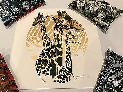 TYLER STOUT GIRAFFES SIGNED AND NUMBERED 12  x 12 LIMITED SCREENPRINT NEW