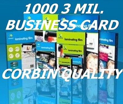 Business Card 1000 pc Laminating Laminator Pouches Sheets 3 mil 2-1/4 x 3-3/4