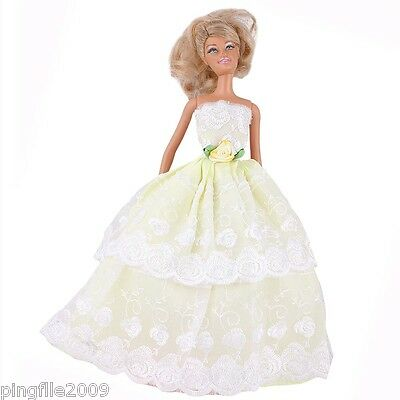 New Handmade Yellow Party Dress Clothes Outfits For Barbie Doll #1066