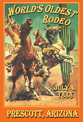 Prescott Rodeo Worlds Oldest  July 1888 -  VINTAGE RODEO POSTER
