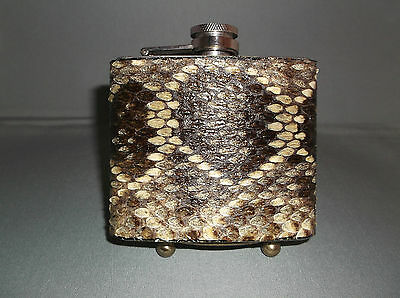 HANDMADE REAL DIAMONDBACK RATTLESNAKE SKIN DRINK FLASK, 5 Oz, Stainless Steel.