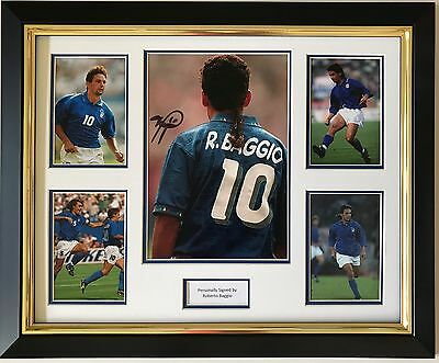Roberto Baggio Hand Signed Autograph Framed Photo Display Italy Legend 1.
