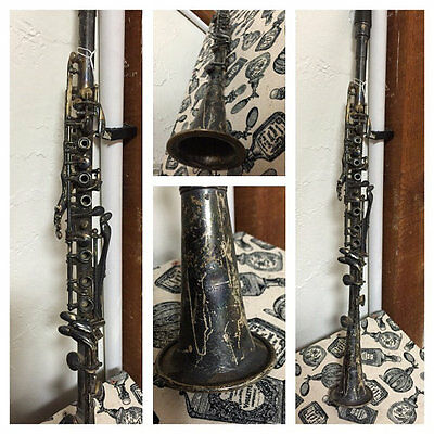 1900's Clarinet one piece silver instrument Industrial patina rustic music room