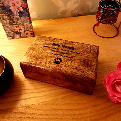 Large to Small Mango Wood Personalised Pet Urn Dog Cat Pet Cremation Box Ashes