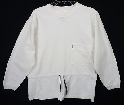 Vintage 90s ESPRIT White Sweatshirt Nautical Crew Pocket Drawstring Waist S/M