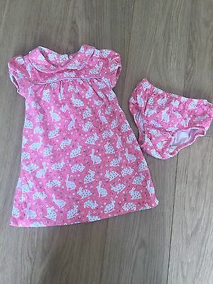 Baby Boden Bunny Rabbit Dress And Bloomers Outfit 6-12 M 9 Girl Cute Mint