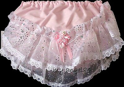 Baby Pink Frilly Knickers Rosebuds Sparkle Christening Wedding Party 0-3 months