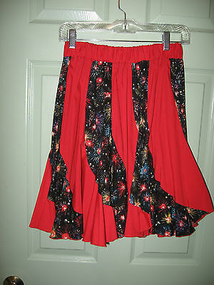 "Older Square Dance Top & Skirt    "" Mondiki""     Fire Works!!!   Size S"