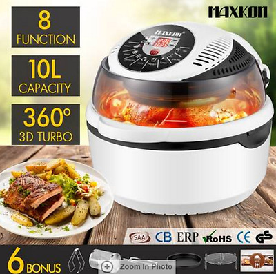 10L 8 Function Air Fryer Convection Turbo Oven Cooker Rotisserie White Black
