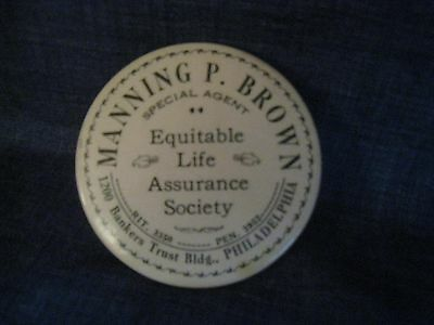 Antique Celluloid Advertising Mirror - Manning P. Brown Life Assurance Society