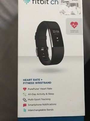 New Fitbit Charge 2 - Activity Tracker - Monitor Wristband - Black Large